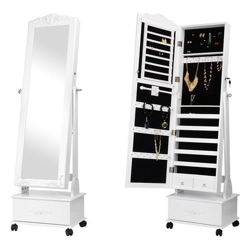 movable jewelry cabinet with full length mirror standing jewelry armoire organizer sortwise. Black Bedroom Furniture Sets. Home Design Ideas