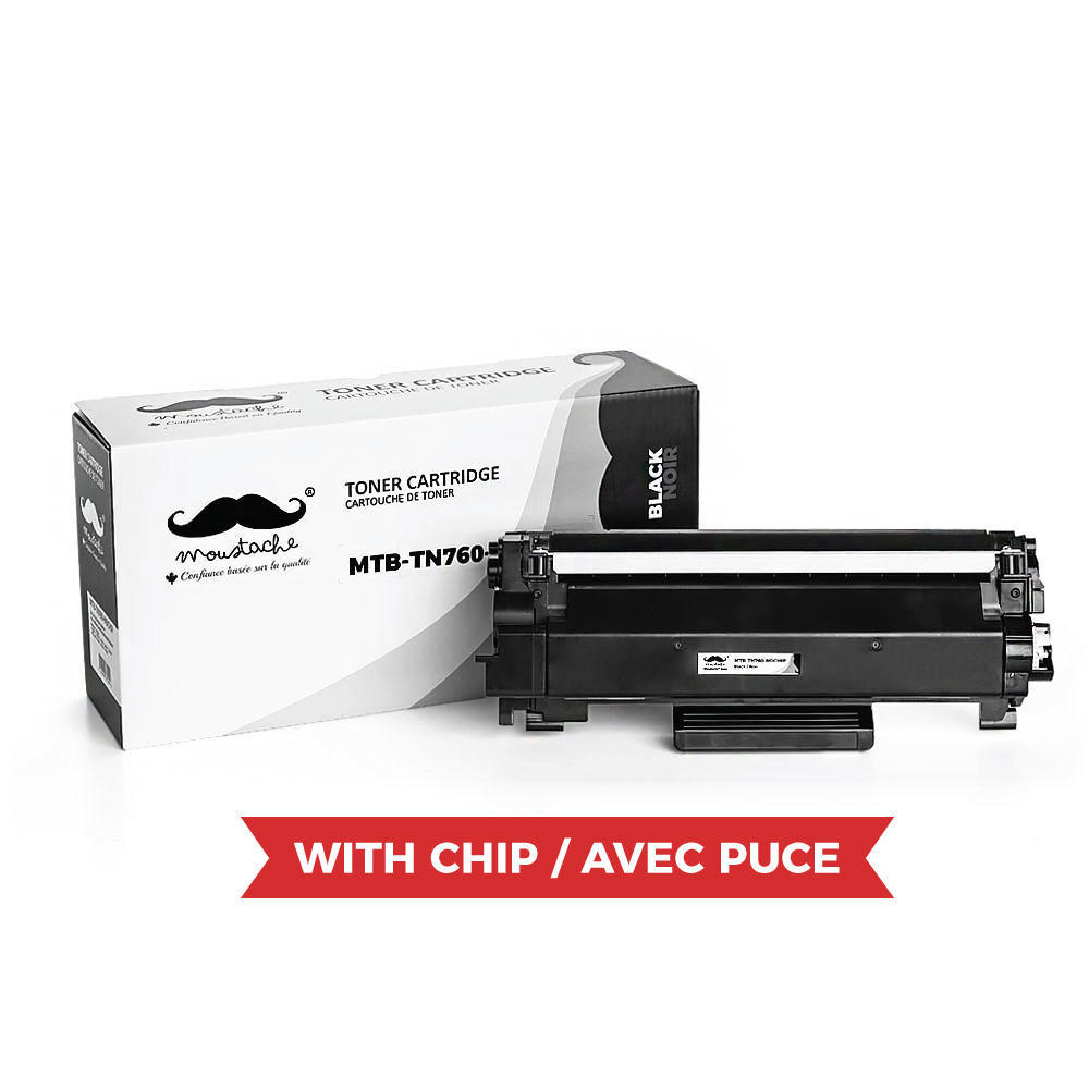 Brother TN760 Compatible Black Toner Cartridge High Yield - With Chip - Moustache®