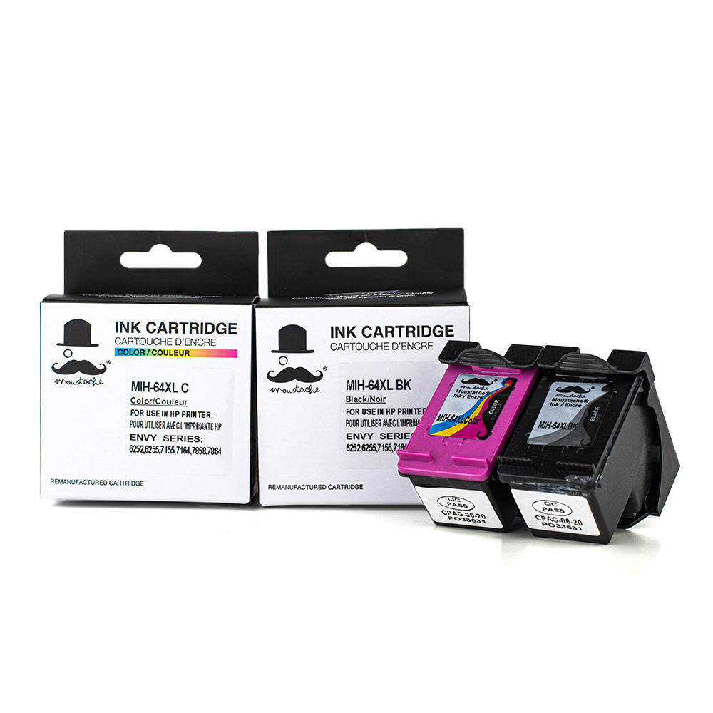 Remanufactured HP 64XL Black and Tri-color Ink Cartridge Combo High Yield - Moustache®