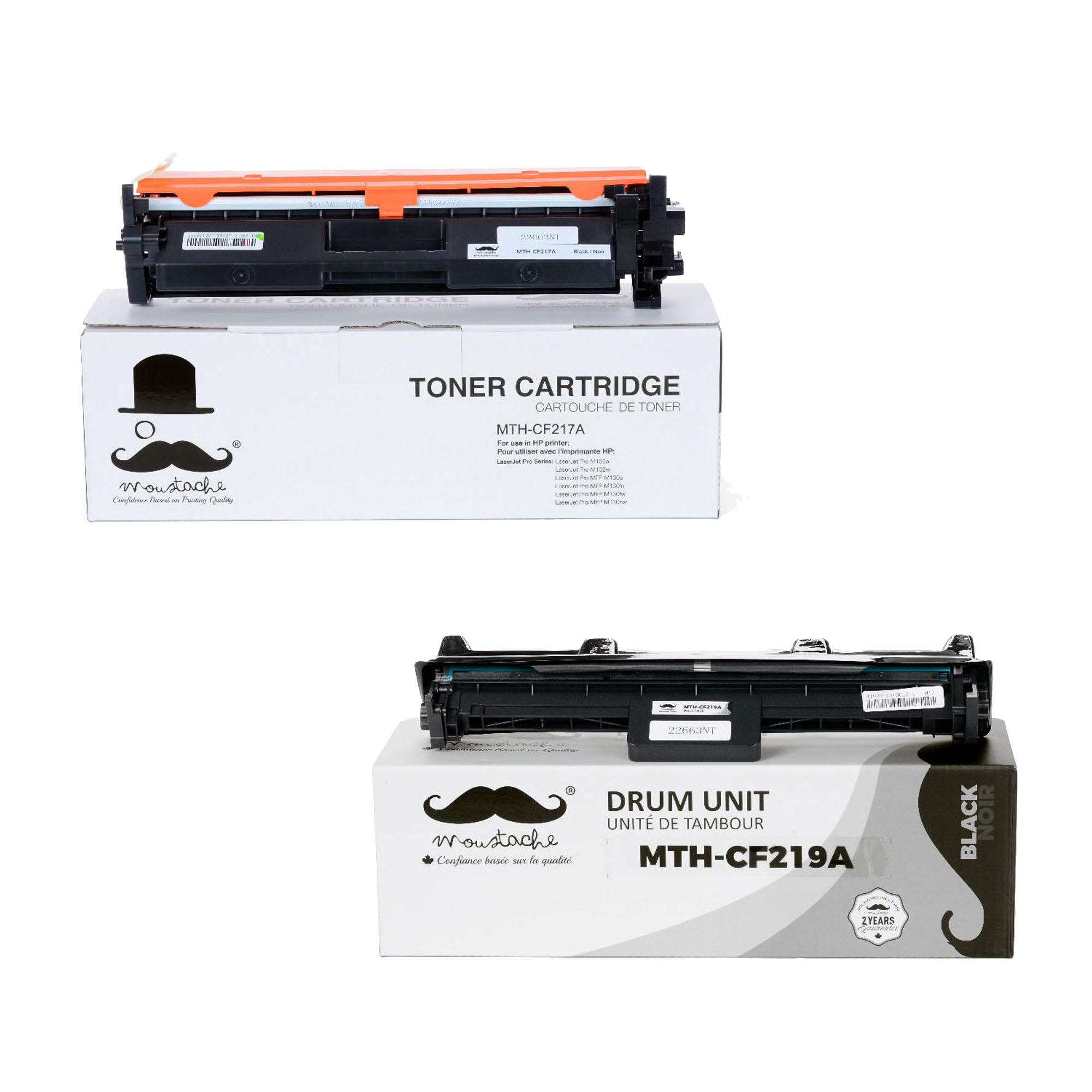 Compatible Hp 17a 19a Cf217a Cf219a Toner Cartridge And Drum Combo Printer Laserjet Pro Mfp M130a With Chip Moustache