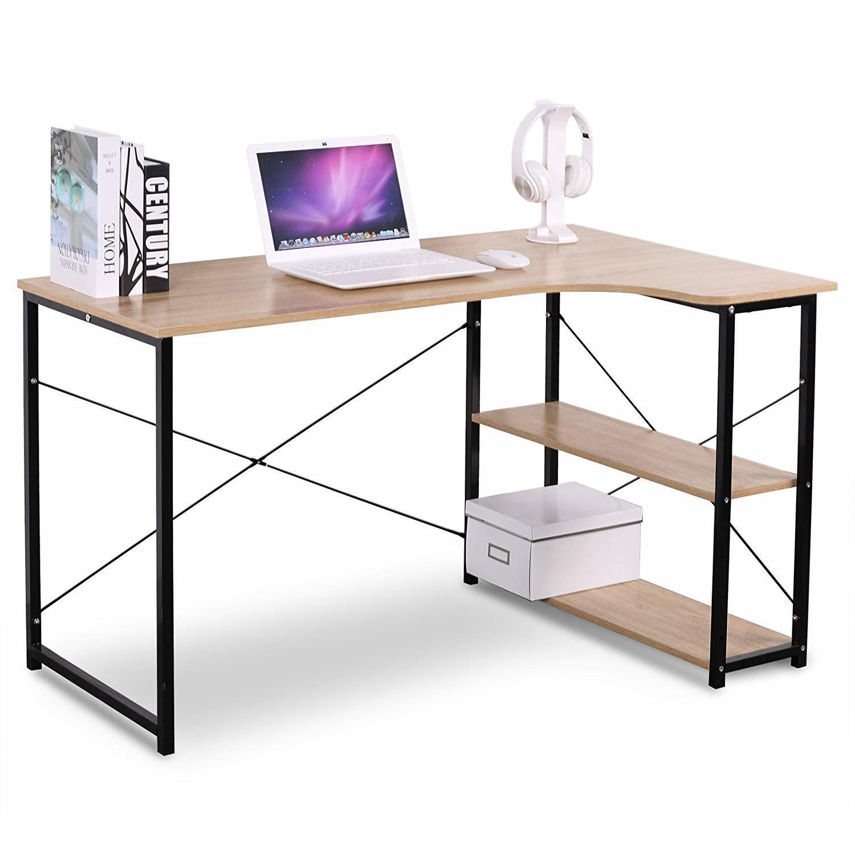 L-Shape Writing Desk with 2 Storage Shelves - Moustache®