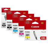 Canon PGI-280XXL CLI-281XXL Original Ink Cartridge Extra High Yield Combo PB/BK/C/M/Y