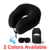 Memory Foam Neck Pillow Travel Kit with Sleep Mask and Earplugs - Moustache®