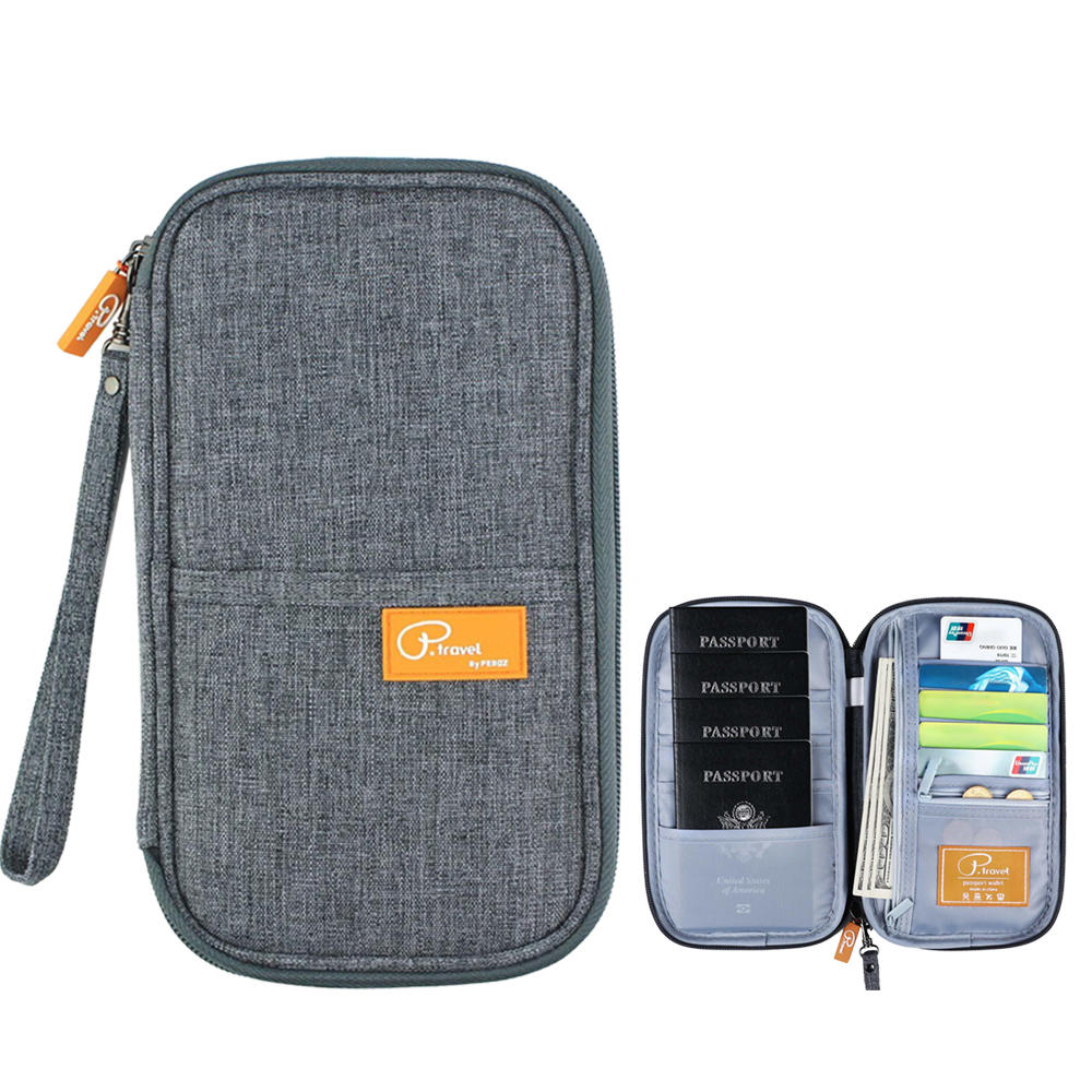 P.Travel Passport Wallet with Card Holder, Gray