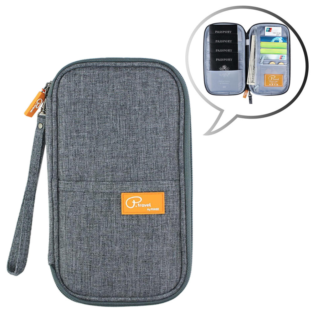 P.Travel RFID Block Passport Wallet with Card Holder, Gray