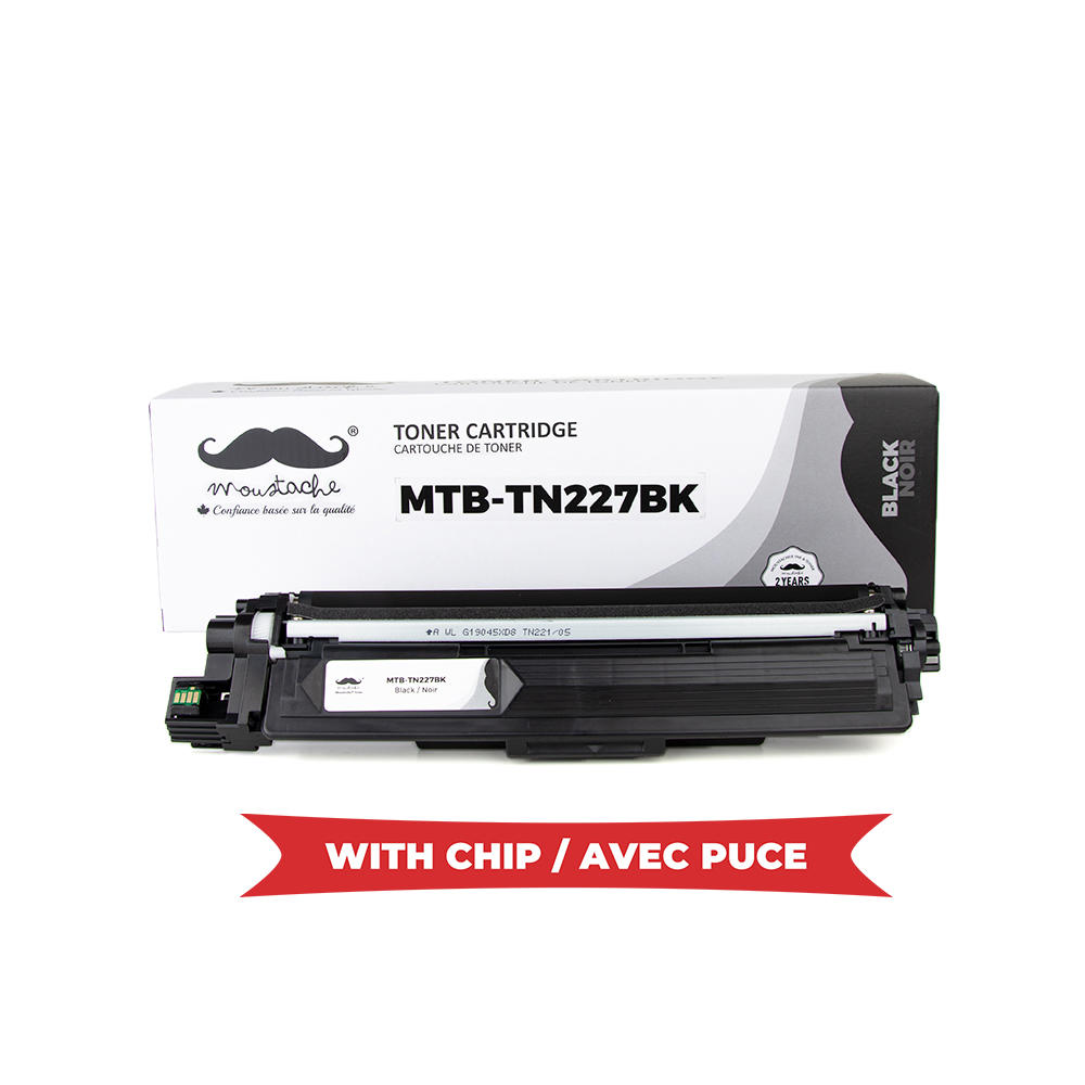 Brother TN227 Compatible Black Toner Cartridge High Yield Version of TN223 - WithChip - Moustache®