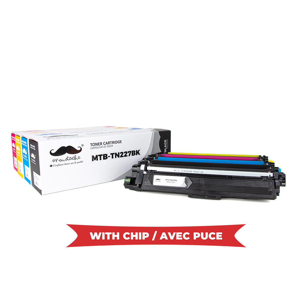 Brother TN227 Compatible Toner Cartridge Combo High Yield Version of TN223 - WithChip - Moustache®