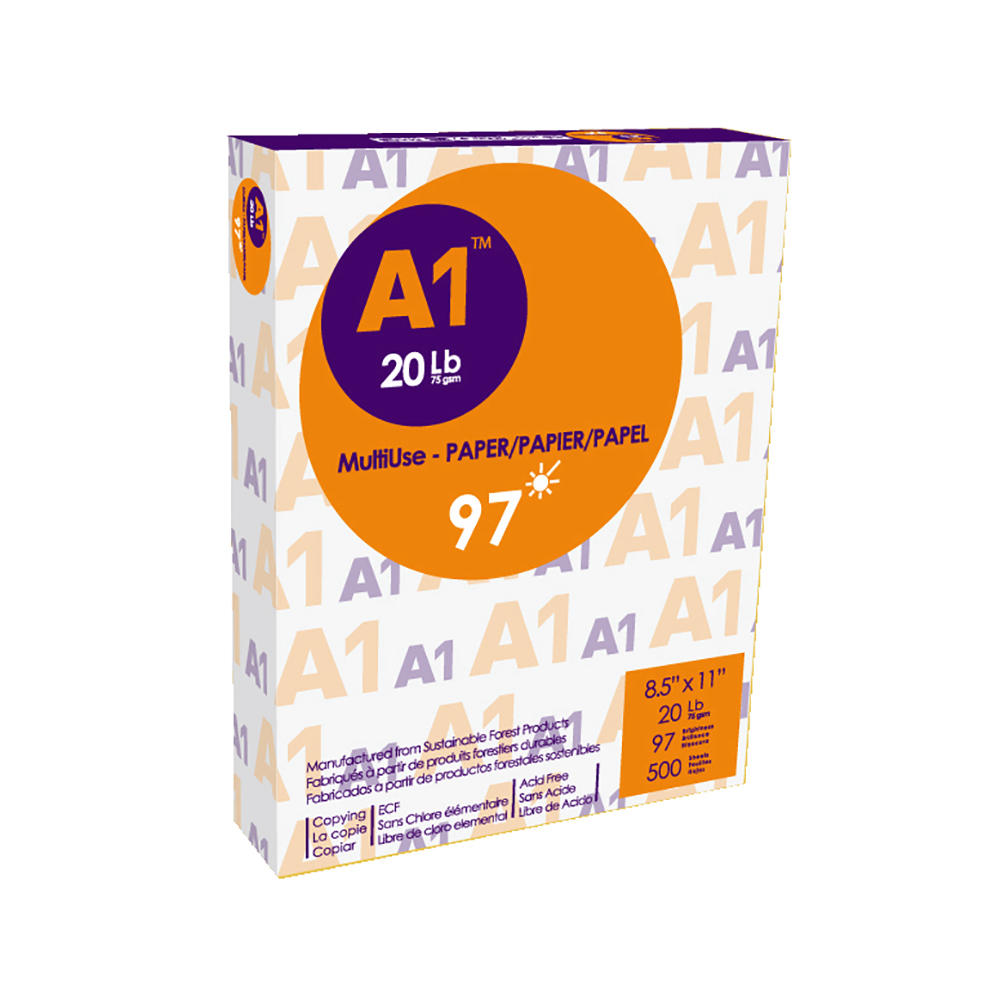 A1® Copy Paper, 20 lbs, 8.5'' x 11'',97 brightness, 500 Sheets/Ream