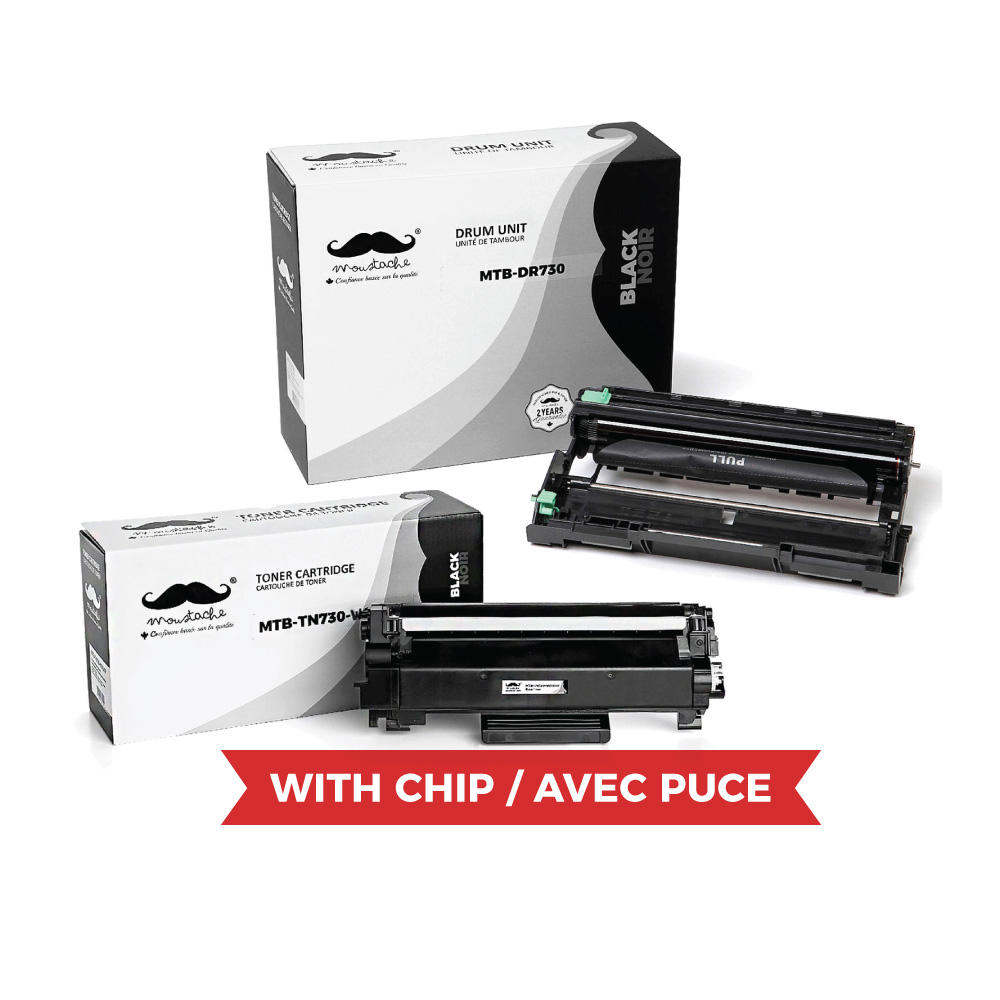 Brother TN730 DR730 Compatible Toner Cartridge and Drum Combo (With Chip for TN730) - Moustache®