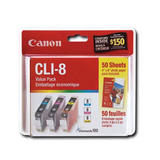 "Canon CLI-8 0621B014 Original Ink Cartridge Combo C/M/Y + 50 Sheets 4"" x 6"" of Photo Paper"