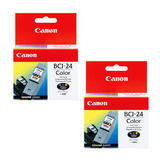 Canon BCI-24C Original Color Ink Cartridge Twin Pack (6882A003)