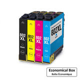 Epson 802 T802XL Compatible Ink Cartridge Combo High Yield BK/C/M/Y - Economical Box
