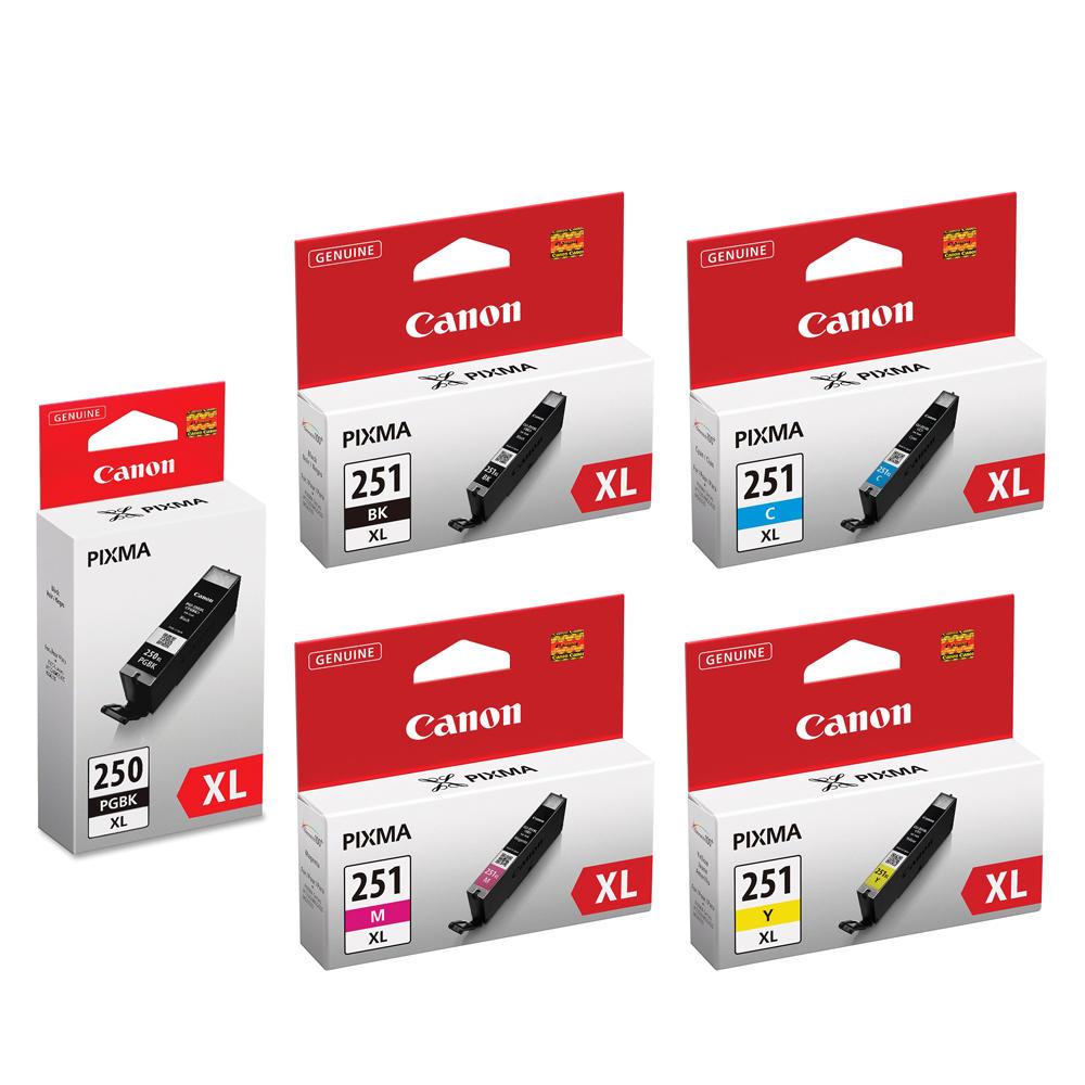 Canon PGI250XL CLI251XL Original Ink Cartridge Combo PBK/BK/C/M/Y