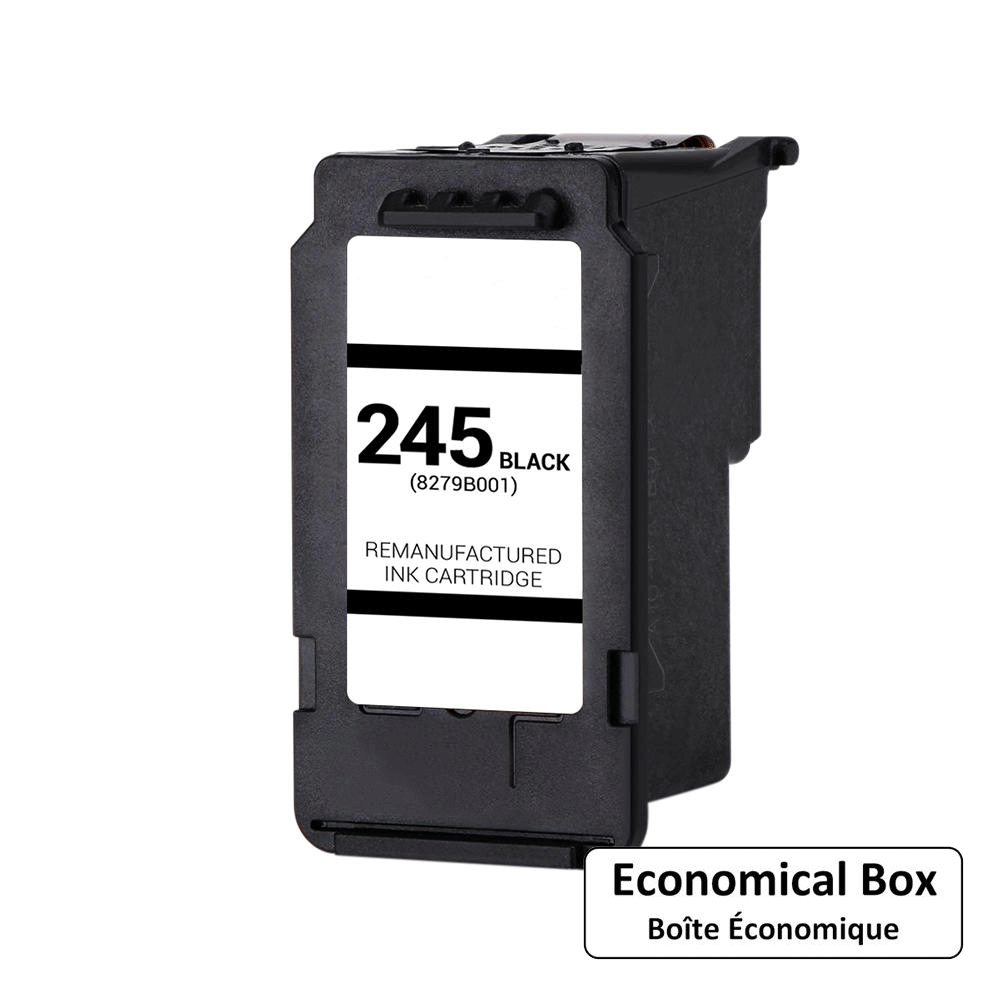 Canon PG-245XL Remanufactured Black Ink Cartridge High Yield (8278B001AA) - Economical Box