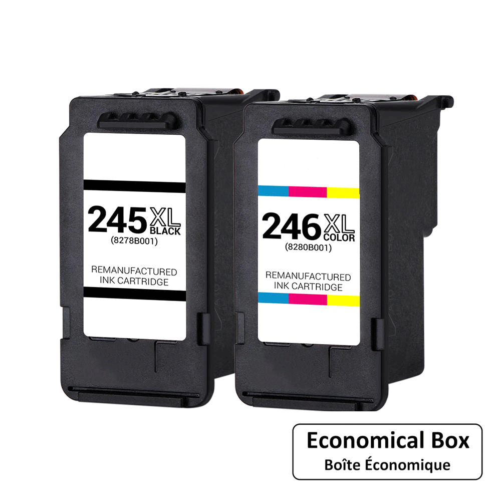 Canon PG245XL CL246XL Remanufactured Ink Cartridge Combo High Yield - Economical Box
