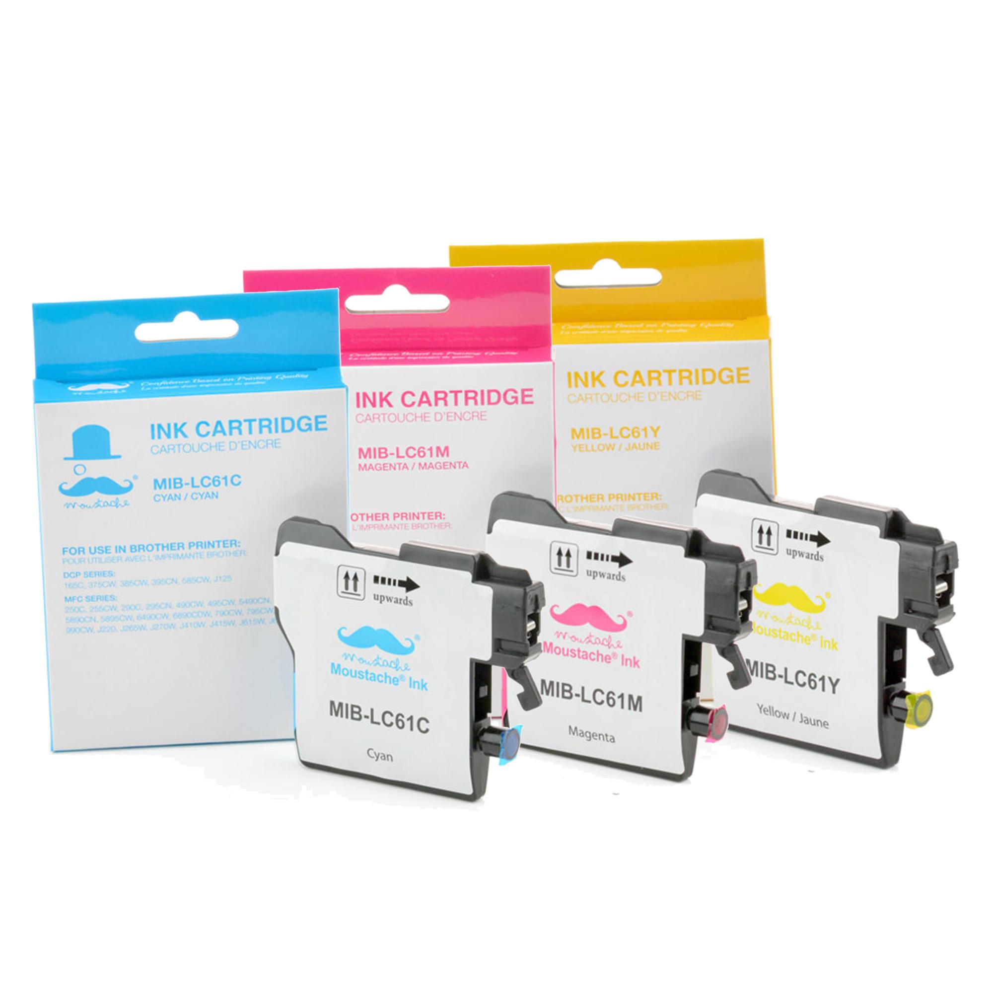 Brother LC61 3PKS Compatible Color Ink Cartridge Combo C/M/Y - Moustache®