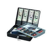 SentrySafe DCB-1 Deluxe Cash Box with Tray and Bill Clips, Black