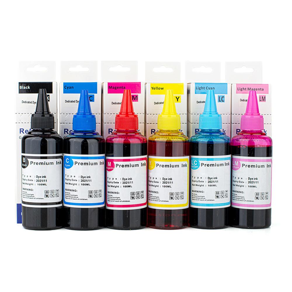 Universal Dye Refill Ink Combo for Epson Printer Cartridges BK/C/M/Y/LC/LM - 6 x 100ml