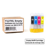 Epson 127 T127XL Empty Refillable Ink Cartridge Combo Extra High Yield BK/C/M/Y with ARC Chip