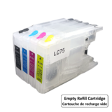 Brother LC75 Empty Refillable Ink Cartridge Combo High Yield BK/C/M/Y