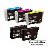 Epson 288 T288XL Remanufactured Ink Cartridge Combo High Yield 2BK/C/M/Y - Economical Box
