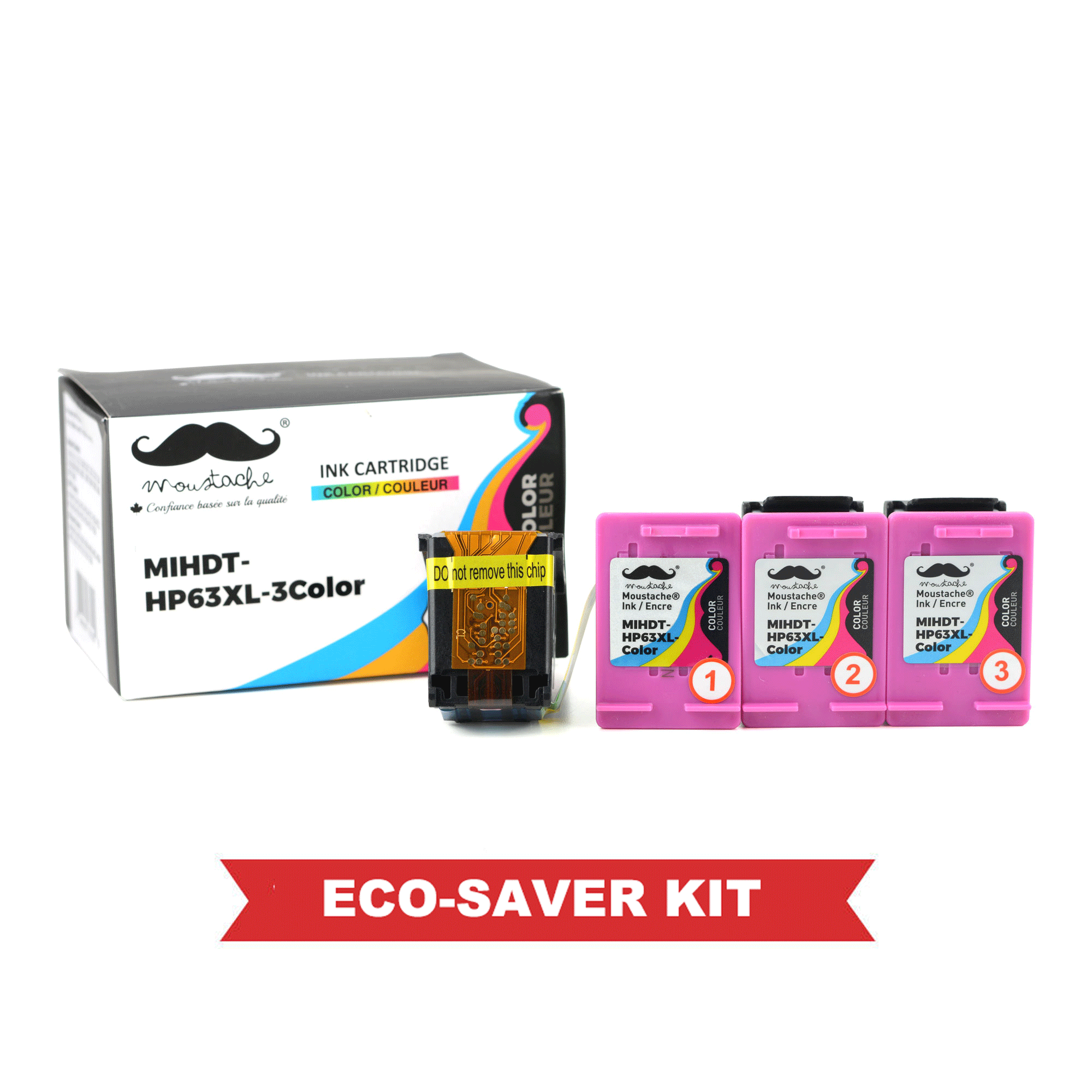 Remanufactured HP 63XL F6U63AN Eco-Saver Tri-Color Ink Cartridge High Yield 3PK Combo - Moustache®
