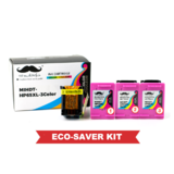 Remanufactured HP 63XL F6U64AN Eco-Saver Tri-Color Ink Cartridge High Yield 3PK Combo - Moustache®