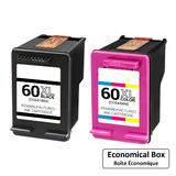 Remanufactured HP 60XL Black and Color Ink Cartridge Combo High Yield - Economical Box