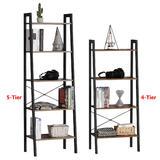 Wood Ladder Shelves, Steel Frame, Rustic Brown - Moustache®