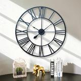 32-Inch Retro Roman Wall Clock, Round, Black