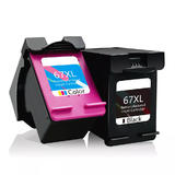 Remanufacutred HP 67XL Ink Cartridge Black and Color Combo High Yield - Economical Box