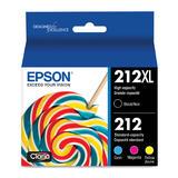 Epson T212XL T212 T212XL-BCS Original Black and Color Ink Cartridge Combo BK/C/M/Y
