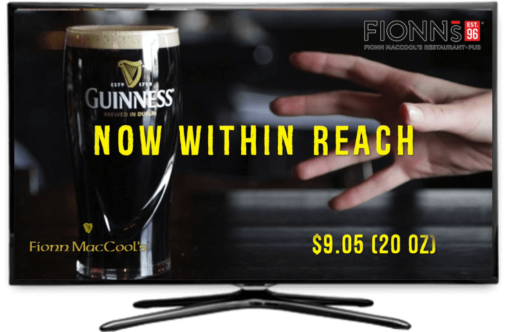 Guinness' Taiv advertisement on a TV