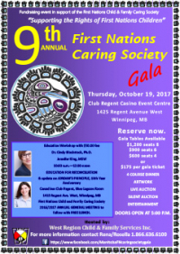 Please join us for the First Nations Caring Society Gala & Workshops on October 19 in Winnipeg