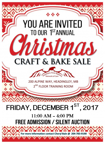 Please join us for our 1st Annual Christmas Craft & Bake Sale on December 1